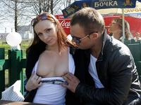 Blowjob outdoors from hot redhead