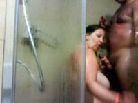 Hot blowjob in the shower