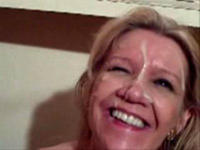 My crazy milf enjoys facial