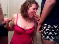 Chubby slut sucking while her lover watches