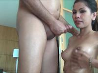 Skinny babe is licking cock