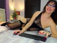 Bitch massages her hairy pussy