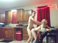 Blonde is fucked in the kitchen