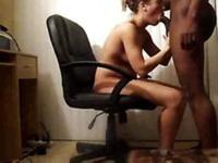 Pussy drilling in office chair