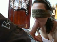 So pretty blindfolded girlfriend pleasant him with this hot blowjob,!holy fuck!