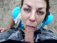 Lustful husband put her pretty brunette milf wife to suck his cock outdoors,damn