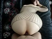 Big ass babe in fishnets