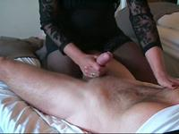 Stroking a long hard penis
