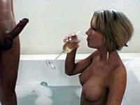 Drunken babe fucked in tub