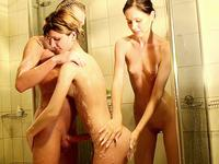 Shy girlie pleasing her friend
