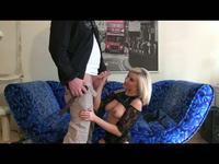 Blonde in lingerie strokes and blows a cock