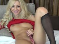 Wonderful blonde stuffs her cooch with toy