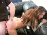 Mature brunette filled with a rock hard dick