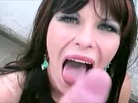 German milf sucking in the yard